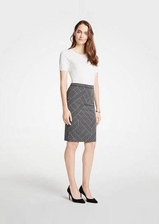 Ann Taylor Petite Cross Stripe Pencil Skirt