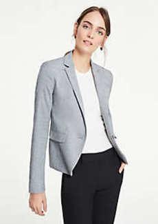 Ann Taylor Petite Crosshatch One Button Blazer