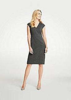 Ann Taylor Petite Crosshatch V-Neck Sheath Dress