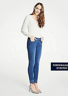 Ann Taylor Petite Curvy Embroidered Floral All Day Skinny Jeans