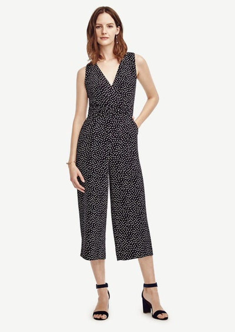 Ann Taylor Petite Dotted Sleeveless Jumpsuit