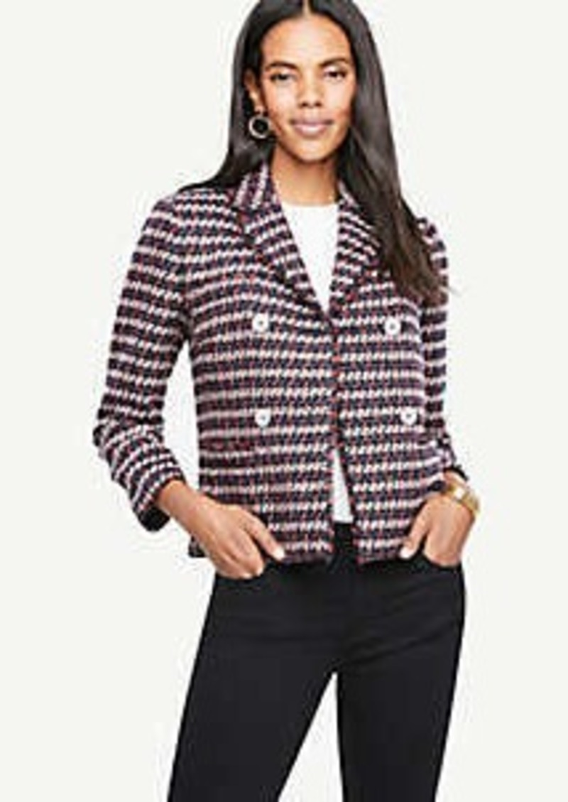 Ann Taylor Petite Double Breasted Tweed Jacket