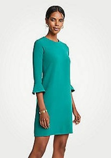 Ann Taylor Petite Doubleweave Fluted Sleeve Shift Dress