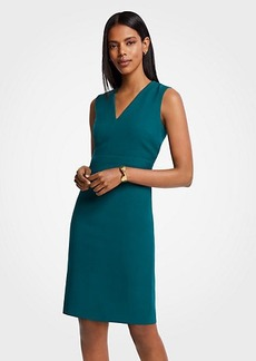 Ann Taylor Petite  Doubleweave V-Neck Sheath Dress