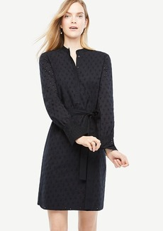Ann Taylor Petite Embroidered Cotton Shirt Dress