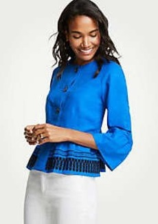 Ann Taylor Petite Embroidered Flounce Jacket