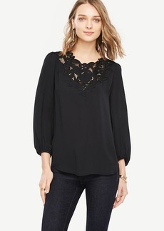 Petite Embroidered Lace V-Neck Blouse