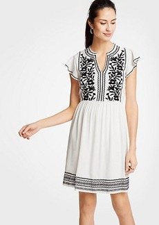 Ann Taylor Petite Embroidered Ruffle Sleeve Shift Dress