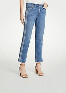 Ann Taylor Petite Embroidered Side Stripe Straight Crop Jeans