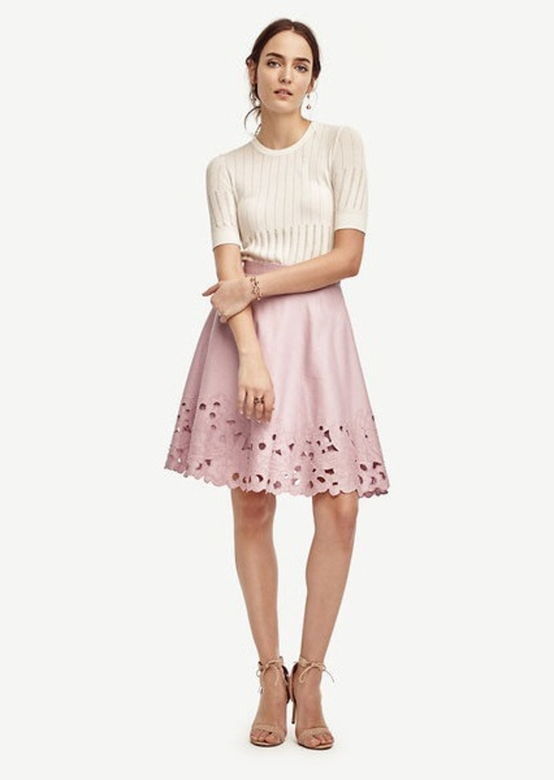 Ann Taylor Petite Embroidered Swing Skirt