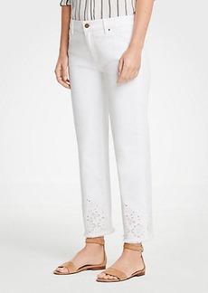 Ann Taylor Petite Eyelet Straight Crop Jeans