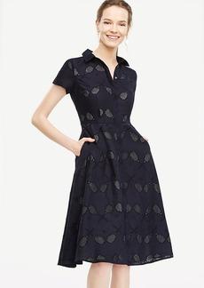 Petite Eyelet Tennis Racquet Shirt Dress