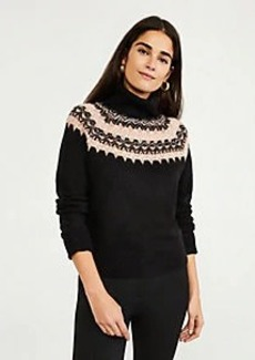 Ann Taylor Petite Shimmer Fair Isle Turtleneck Sweater