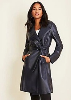 Ann Taylor Petite Faux Leather Trench Coat