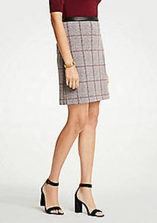 Ann Taylor Petite Faux Leather Trim Plaid A-Line Skirt