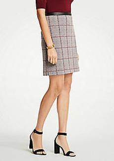 Ann Taylor Petite Faux Leather Trim Plaid A-Line Skirt