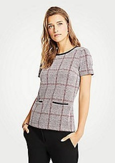 Ann Taylor Petite Faux Leather Trim Plaid Pocket Top