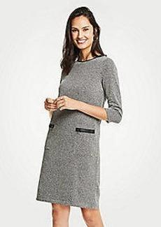 Ann Taylor Petite Faux Leather Trim Tweed Shift Dress
