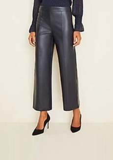 Ann Taylor Petite Faux Leather Wide Leg Crop Pants