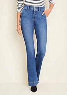 Ann Taylor Petite Flare Trouser Jeans in Mid Indigo Wash
