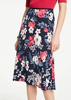 Ann Taylor Petite Floral Cluster Flare Skirt