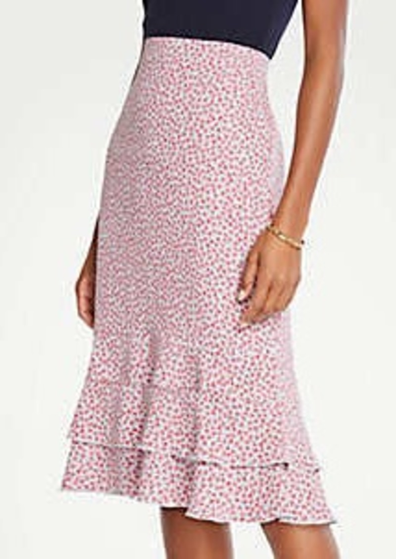 Ann Taylor Petite Floral Double Flounce Pencil Skirt