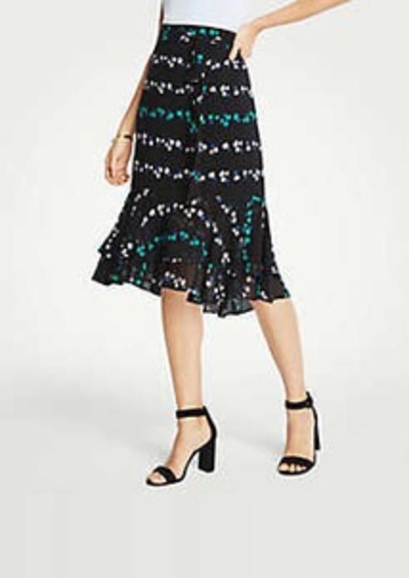 Ann Taylor Petite Floral Double Flounce Skirt
