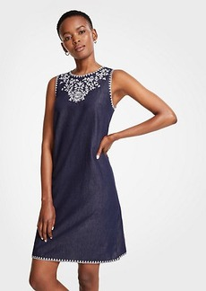 Ann Taylor Petite Floral Embroidered Denim Shift Dress