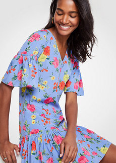 Ann Taylor Petite Floral Flounce Shift Dress