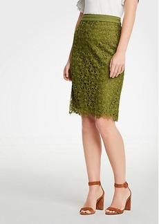 Ann Taylor Petite Floral Lace Pencil Skirt