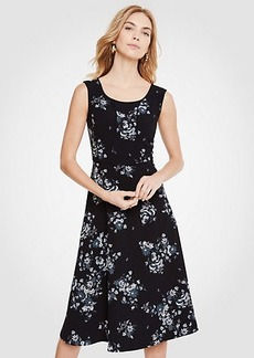 Ann Taylor Petite Floral Piped Midi Dress