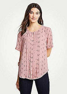 Ann Taylor Petite Floral Pleat Front Keyhole Tee