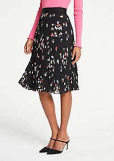 Ann Taylor Petite Floral Pleated Skirt