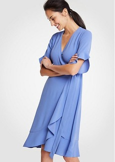 Ann Taylor Petite Flounce Hem Wrap Dress