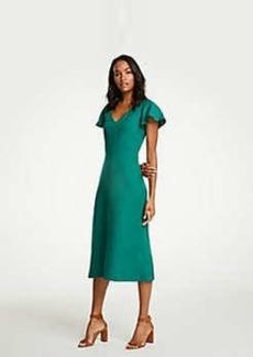 Ann Taylor Petite Flutter Sleeve Linen Blend Midi Dress