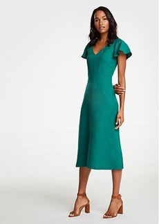 Ann Taylor Petite Flutter Sleeve Linen Blend Midi Dress