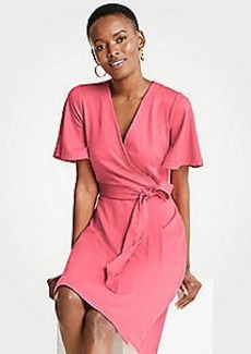 Ann Taylor Petite Flutter Sleeve Wrap Dress