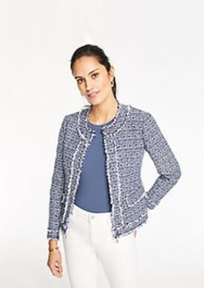 Ann Taylor Petite Framed Fringe Tweed Jacket
