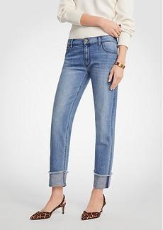 Ann Taylor Petite Frayed Cuff Girlfriend Jeans
