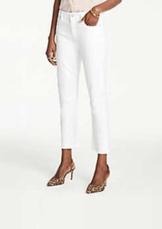 Ann Taylor Petite Frayed Straight Crop Jeans In Optic White