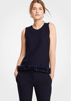 Ann Taylor Fringe Hem Sweater Shell