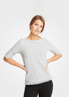 Ann Taylor Petite Fringe Short Sleeve Sweater