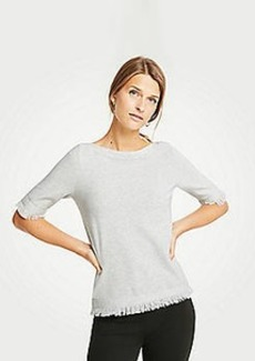 Ann Taylor Petite Fringe Short Sleeve Sweater