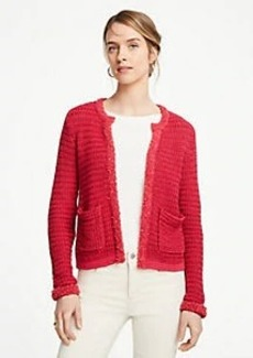 Ann Taylor Petite Fringe Trim Sweater Jacket