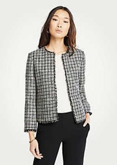 Ann Taylor Petite Fringe Tweed Open Jacket