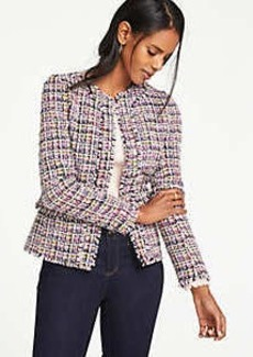 Ann Taylor Petite Fringe Tweed Peplum Jacket