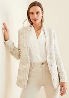 Ann Taylor Petite Fringe Tweed Shawl Collar Jacket