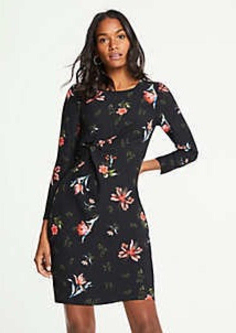 Ann Taylor Petite Garden Floral Knotted Shift Dress