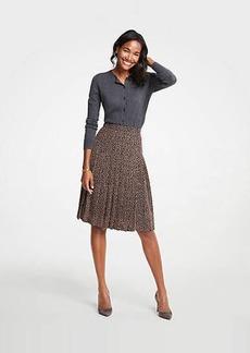 Ann Taylor Petite Geo Dot Pleated Full Skirt