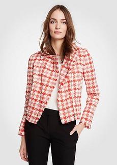 Ann Taylor Petite Gingham Moto Jacket
